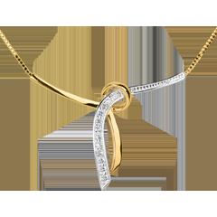 Halsketting Liane 18 karaat geelgoud met pavézetting - 3 Diamanten