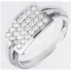 Anillo insignia empedrado - oro blanco   - 0.36 quilates - 28 diamantes
