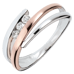 Bague de fian�ailles Nid Pr�cieux - Trio de diamants - or rose, or blanc - 3 diamants - 18 carats