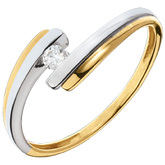 Solitaire Nid Précieux - Système solaire - or jaune et or blanc - 0.08 carat - 18 carats