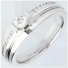 Bague de Fiançailles Solitaire Destinée - Eugénie variation - diamant 0.22 carat