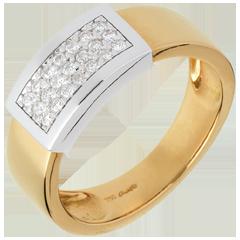 Anello Cintura oro giallo-oro bianco pavé