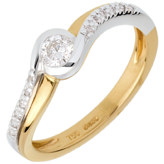 Aquarius yellow gold Ring and paved white gold diamond set shoulders - 0.25 carat