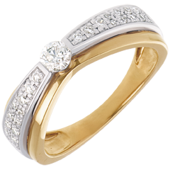 Solitario Maharajah pavé oro giallo-oro bianco  - 0.38 carati - 27 diamanti