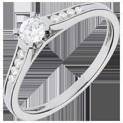 Solitario Altezza oro bianco pavé - 0.31 carati - 9 diamanti - 9 carati