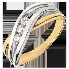 Anillo trilogía Nido Precioso-  Ninfea-  oro amarillo y blanco -3 diamantes- 18 quilates.