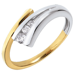 Anello Trilogy Narval oro giallo-oro bianco - 3 diamanti