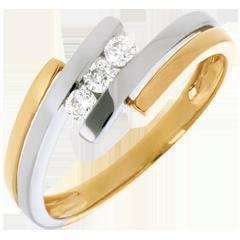 Trilogie Nid Précieux - Double jonc - or blanc et or jaune - 3 diamants - 18 carats