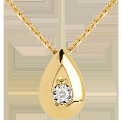 Halsketting Fiool - 9 karaat geelgoud met Diamant