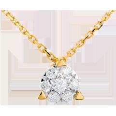 Collier demi sphère pavée - 7 diamants - or jaune 18 carats
