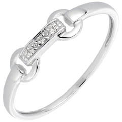 Bague equestria or blanc et diamants