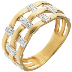 Anillo hilado oro amarillo empedrado diamantes - 11 diamantes