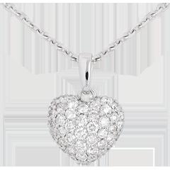 Colgante corazón empedrado oro blanco y campanita - 0.67 quilates - 50 diamantes