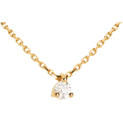 Collier solitaire or jaune  - 0.11 carat