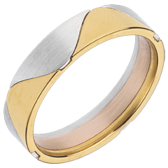 White and Yellow Gold Harlequin Ring