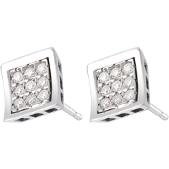 Boucles d'oreilles empreinte - puces or blanc 18 carats pavées - 0.27 carats - 18 diamants