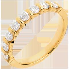 Alliance or jaune semi pavée - serti barrettes - 0.65 carats - 8 diamants
