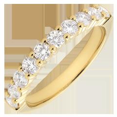 Alliance or jaune semi pavée - serti griffes - 0.65 carats - 10 diamants