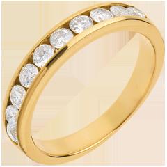 Fede nuziale oro giallo semi pavé - incastonatura Binario  - 0.65 carati - 10 diamanti