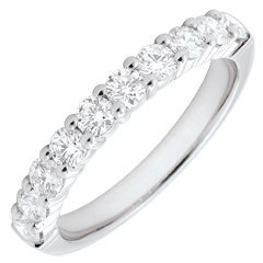 Alliance or blanc semi pavée - serti griffes - 0.65 carats - 10 diamants