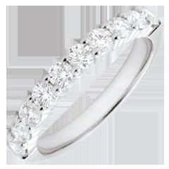 Alliance or blanc semi pavée - serti griffes - 0.65 carats - 10 diamants