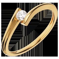 Anello Solitario Nido Prezioso - Apostrofo - oro giallo - diamante 0.13 carato - 18 carati