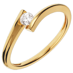 Anillo solitario Nido Precioso - Apóstrofe - oro amarillo - diamante 0.13 quilates - 18 quilates