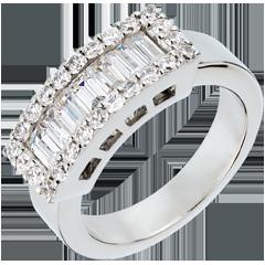 Anello Striscioline oro bianco e diamanti  - 1.38 carati - 31 diamanti