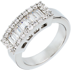 Anillo correa oro blanco diamantes  - 1.38 quilates - 31 diamantes