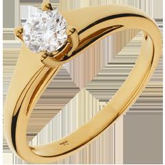 Bague solitaire Diadème or jaune - 0.47 carat