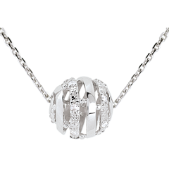 Collier Amour en Cage or blanc 9 carats - 11 diamants - 45cm