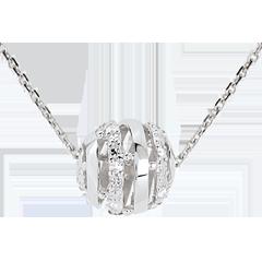 Collar amor cofre oro blanco - 11 diamantes 45 cm