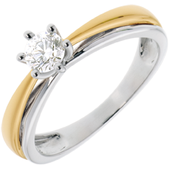 Solitaire arceau or blanc-or jaune - 0.34 carats