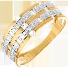 Anello Trama oro giallo pavé diamanti  - 6 diamanti