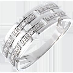 Bague canevas or blanc pavée diamants - 6 diamants