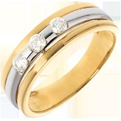 Trilogy Eclissi oro giallo-oro bianco  - 0.24 carati - 3 diamanti