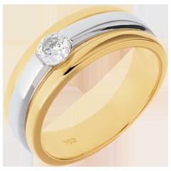 Solitario Eclissi oro giallo-oro bianco   - 0.28 carati