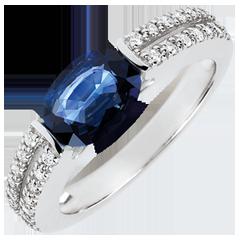 Anello di Fidanzamento Vittoria - zaffiro 1.7 carati e diamanti - oro bianco 18 carati