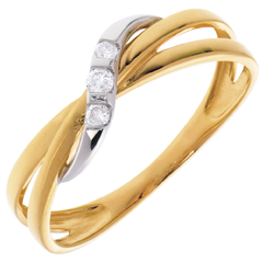 Anillo Triología aros oro amarillo-oro blanco - 3 diamantes