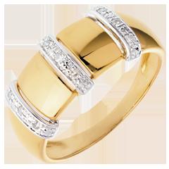 Anillo triada oro amarillo empedrado - 9 diamantes