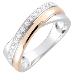 Anello anelli - oro rosa, oro bianco e diamanti
