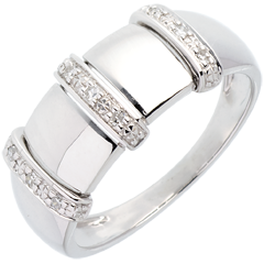 Bague triade or blanc pavée - 9 diamants