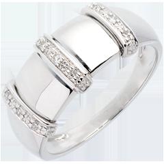 Bague triade or blanc pavée - 9 diamants