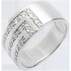 Bague équerre or blanc pavée - 17 diamants