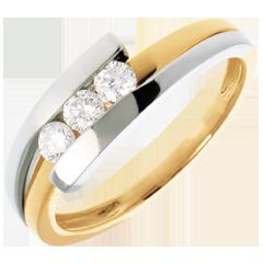 Trilogie bipolaire or jaune-or blanc   - 0.28 carats - 3 diamants