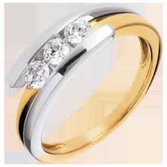 Trilogía Brillo Eterno- Bipolar - oro amarillo y blanco - 0.41quilates - 3 diamamantes- 18 quilates.