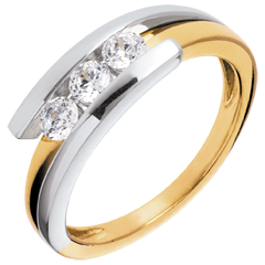 Trilogy  Nido Prezioso - Bipolare - oro giallo ed oro bianco - 0.41 carati - 3 diamanti - 18 carati