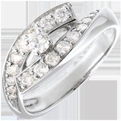 Anello Solitario Destino - Diva - oro bianco - modello grande - 0.15 carati - 18 carati