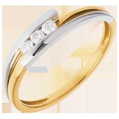 Trilogía Nido Precioso-  Bipolar -  oro amarillo y blanco - 0.12 quilates - 3 diamamantes- 18 quilates.