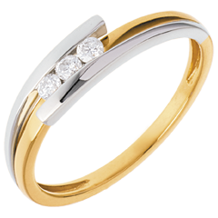 Trilogia Nido Prezioso - Bipolare - oro giallo ed oro bianco - 3 diamanti - 0.12 carato